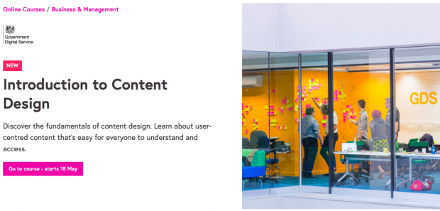 "A screenshot of the sign-up page for the 'Introduction to Content design' course on Future Learn. It includes an image of 5 participants talking and sticking post-its on a wall, and a description of the course: ""Discover the fundamentals of content design. Learn about user-centred content that's easy for everyone to understand and access""."