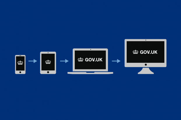 The GOV.UK crown logo on a smartphone, a tablet, a laptop and a desktop monitor with arrows between them.