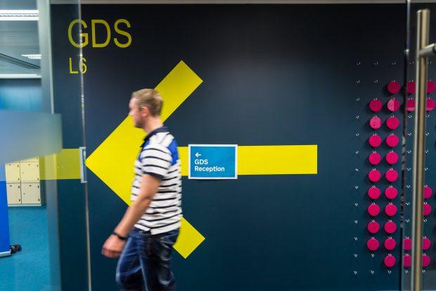 GDS colleague walking through office