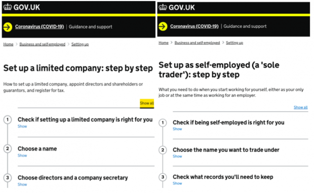 GOV.UK Step by Step for set up a limited company and set up as self-employed