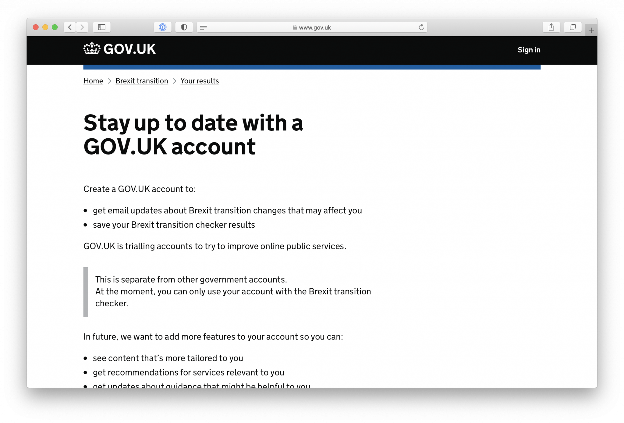 How we designed the GOV.UK accounts trial