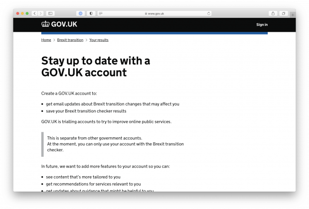 Stay up to date with a GOV.UK account webpage
