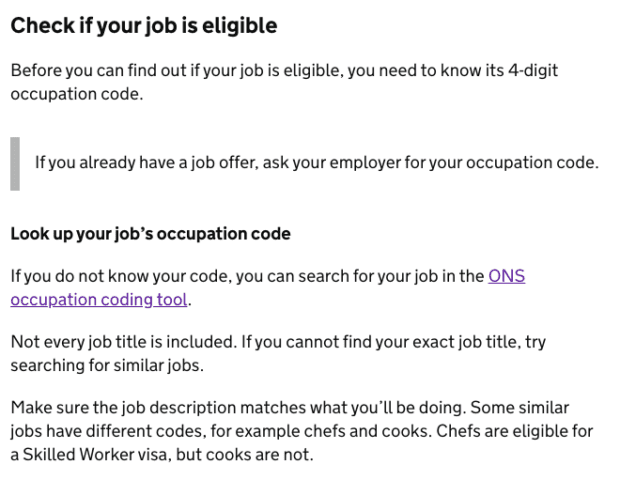 Screenshot from the 'Your job' chapter of the Skilled Worker visa guide, showing guidance explaining how to look up a job's occupation code