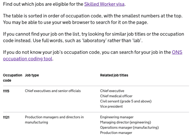 Screenshot from the guidance showing the table of all eligible jobs and their occupation codes