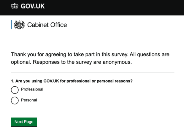 Screenshot of GOV.UK feedback survey, which notes that all questions are optional and responses to the survey are anonymous